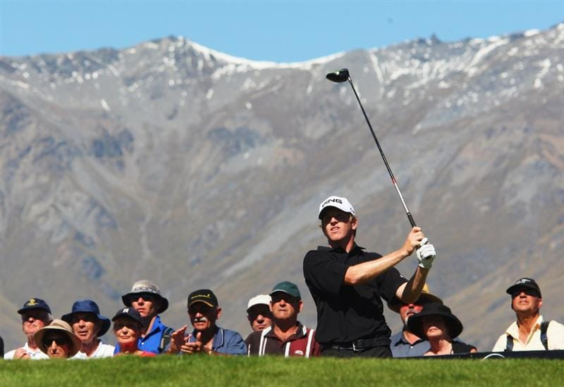 QUEENSTOWN, NEW ZEALAND - MARCH 15: Martin Piller of the USA tees off on the 1st hole during day four of the New Zealand Men's Open Championship at The Hills Golf Club on March 15, 2009 in Queenstown, New Zealand.  (Photo by Phil Walter/Getty Images)