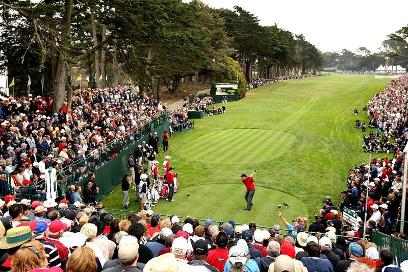 SAN FRANCISCO - OCTOBER 08:  Phil Mickelson of the USA Team hits the very first shot of the Day One Foursome Matches of The Presidents Cup at Harding Park Golf Course on October 8, 2009 in San Francisco, California.  (Photo by Warren Little/Getty Images)