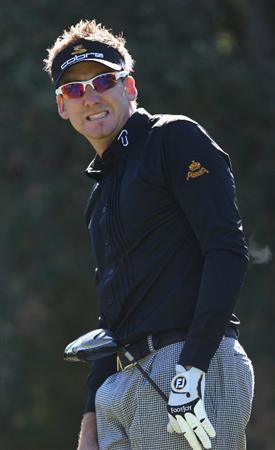SOTOGRANDE, SPAIN - OCTOBER 30:  Ian Poulter of England on the second tee during the first round of the Volvo Masters at the Valderrama Golf Club on October 30, 2008 in Sotogrande, Spain.  (Photo by Ross Kinnaird/Getty Images)