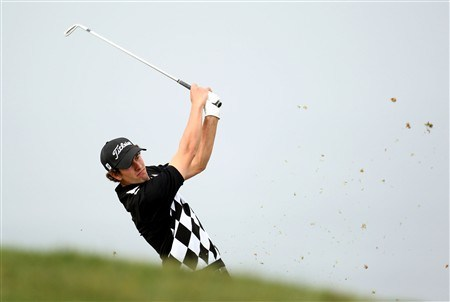 SAN DIEGO - JUNE 12:  Adam Scott of Australia hits his second shot on the fourth hole during the first round of the 108th U.S. Open at the Torrey Pines Golf Course (South Course) on June 12, 2008 in San Diego, California.  (Photo by Ross Kinnaird/Getty Images)
