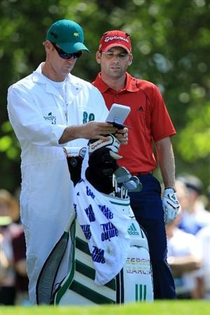 AUGUSTA, GA - APRIL 07:  Sergio Garcia of Spain waits with his caddie Gary Matthews on the fourth tee during the first round of the 2011 Masters Tournament at Augusta National Golf Club on April 7, 2011 in Augusta, Georgia.  (Photo by David Cannon/Getty Images)