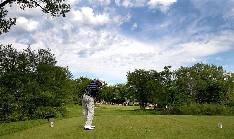 WEST DES MOINES, IA - MAY 31: Mark McNulty of Ireland tees off the par three 16th hole during the third and final round of the Principal Charity Classic held at the Glen Oaks Country Club on May 31, 2009 in West Des Moines, Iowa. (Photo by Marc Feldman/Getty Images)
