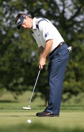 LEMONT, IL - SEPTEMBER 11 : Mark Wilson putts for birdie putt on the ninth hole during the second round of the BMW Championship at Cog Hill Golf & Country Club on September 11, 2009 in Lemont, Illinois. (Photo by Hunter Martin/Getty Images)