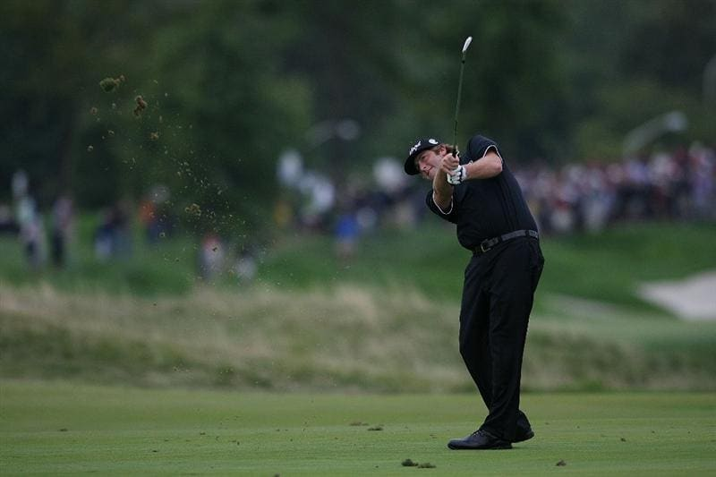 JERSEY CITY, NJ - AUGUST 28:  Steve Marino hits his second shot on the 17th hole during round two of The Barclays on August 28, 2009 at Liberty National in Jersey City, New Jersey.  (Photo by Nick Laham/Getty Images)