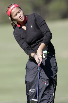 MOBILE, AL - NOVEMBER 8:  Jennifer Rosales of the Philippines watches her putt on the first hold first round play in The Mitchell Company LPGA Tournament of Champions at Magnolia Grove Golf Course on November 8, 2007 in Mobile, Alabama.  (Photo by Dave Martin/Getty Images)
