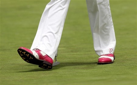 SAN DIEGO - JUNE 12:  A detailed shot of the golf shoes of Ian Poulter of England during the first round of the 108th U.S. Open at the Torrey Pines Golf Course (South Course) on June 12, 2008 in San Diego, California.  (Photo by Donald Miralle/Getty Images)
