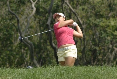 Jeong Jang on the ninth tee  during the first round   at Newport Country Club, site of the 2006 U. S. Women's Open in Newport, Rhode Island, June 30.