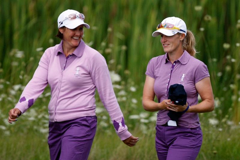 SUGAR GROVE, IL - AUGUST 20:  Maria Hjorth left, and Catriona Moodie of the European Team walk up to the third green during a practice round prior to the start of the 2009 Solheim Cup at Rich Harvest Farms on August 20, 2009 in Sugar Grove, Illinois.  (Photo by Chris Graythen/Getty Images)