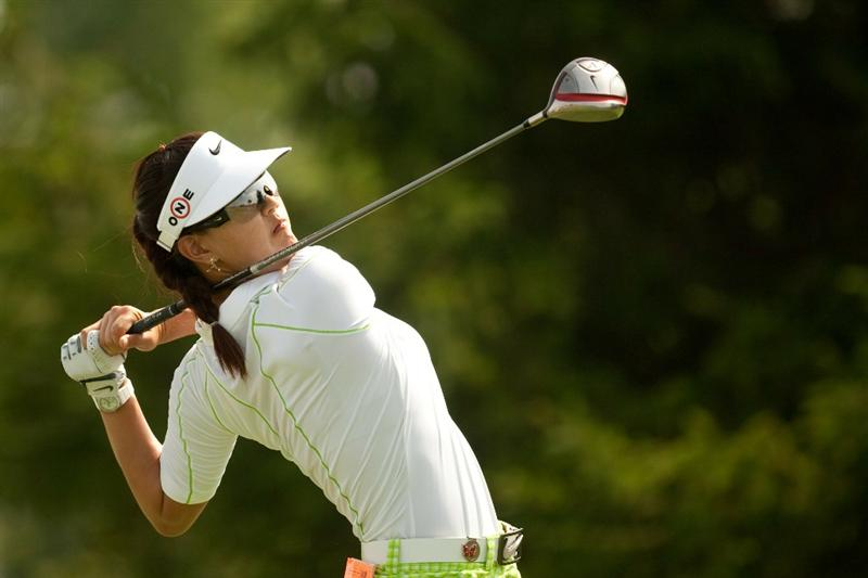 SPRINGFIELD, IL - JUNE 11: Michelle Wie follows through on a tee shot during the second round of the LPGA State Farm Classic at Panther Creek Country Club on June 11, 2010 in Springfield, Illinois. (Photo by Darren Carroll/Getty Images)