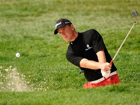 BLOOMFIELD HILLS, MI - AUGUST 05:  Robert Karlsson of Sweden plays a shot from the bunker during a practice round prior to the 90th PGA Championship at Oakland Hills Country Club on August 5, 2008 in Bloomfield Township, Michigan.  (Photo by Sam Greenwood/Getty Images)
