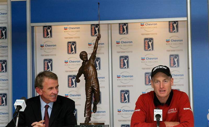 THOUSAND OAKS, CA - DECEMBER 04:  Jim Furyk (R) and PGA Tour Commisioner Tim Finchem sit with Furyk's trophy for being voted PGA tour Player of the Year during a cermony and press conference after round three of the Chevron World Challenge at Sherwood Country Club on December 4, 2010 in Thousand Oaks, California.  The trophy is a statue of Jack Nicklaus.  (Photo by Stephen Dunn/Getty Images)