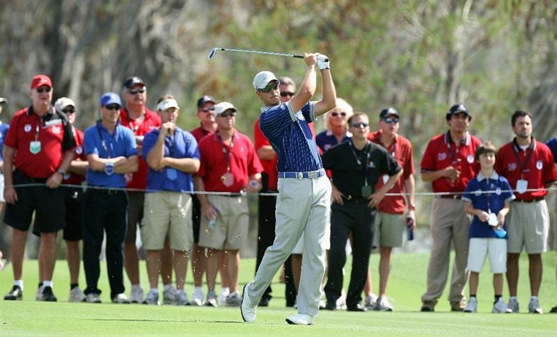 ORLANDO, FL - MARCH 16: Henrik Stenson of Sweden and  the Lake Nona Team at the 18th hole during the first day of the 2009 Tavistock Cup at the Lake Nona Golf and Country Club, on March 16, 2009 in Orlando, Florida  (Photo by David Cannon/Getty Images)