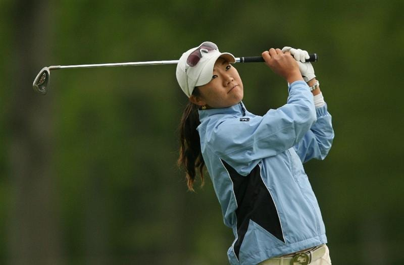 CLIFTON, NJ - MAY 17: Ji Young Oh of South Korea hits her second shot on the 16th hole during the final round of the Sybase Classic presented by ShopRite at Upper Montclair Country Club on May 17, 2009 in Clifton, New Jersey. (Photo by Hunter Martin/Getty Images)