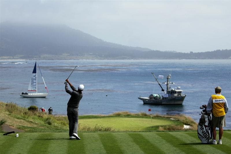 PEBBLE BEACH, CA - JUNE 20:  Gregory Havret hits his tee shot on the seventh hole during the final round of the 110th U.S. Open at Pebble Beach Golf Links on June 20, 2010 in Pebble Beach, California.  (Photo by Andrew Redington/Getty Images)