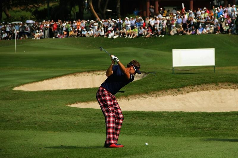 HONG KONG - NOVEMBER 19: Ian Poulter of England plays his 2nd shot on the 10th hole during day two of the UBS Hong Kong Open at The Hong Kong Golf Club on November 19, 2010 in Hong Kong, Hong Kong.  (Photo by Stanley Chou/Getty Images)