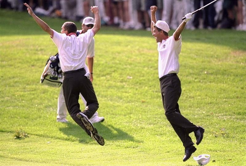 25 Sep 1999:   Sergio Garcia and Jesper Parnevik of Europe celebrate during the 33rd Ryder Cup match played at the Brookline CC in Boston, Massachusetts, USA. \ Mandatory Credit: David Cannon /Allsport