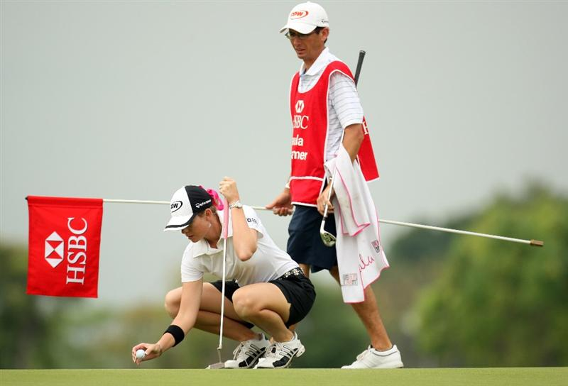 SINGAPORE - MARCH 07:  Paula Creamer of the USA during the third round of HSBC Women's Champions at the Tanah Merah Country Club on March 7, 2009 in Singapore.  (Photo by Ross Kinnaird/Getty Images)
