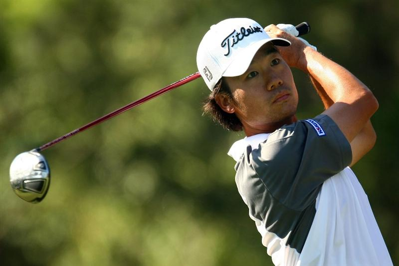 PONTE VEDRA BEACH, FL - MAY 08:  Kevin Na plays his tee shot on the ninth hole during the second round of THE PLAYERS Championship on THE PLAYERS Stadium Course at TPC Sawgrass on May 8, 2009 in Ponte Vedra Beach, Florida.  (Photo by Scott Halleran/Getty Images)