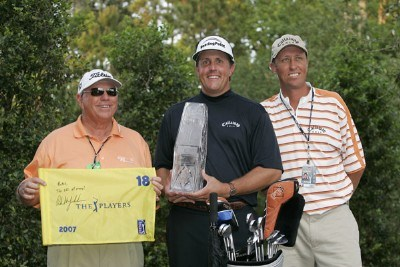 Phil Mickelson with swing coach Butch Harmon and caddie Jim 'Bones' MacKay after winning THE PLAYERS Championship held on THE PLAYERS Stadium Course at TPC Sawgrass in Ponte Vedra Beach, Florida, on May 13, 2007. Photo by: Chris Condon/PGA TOURPhoto by: Chris Condon/PGA TOUR