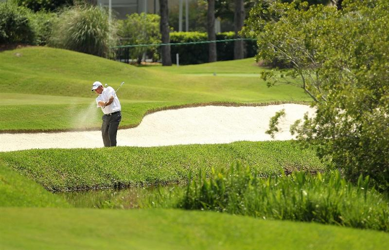 LUTZ, FL - APRIL 15: David Eger hits out of the fairway bunker on the 15th hole during the first round of the Outback Steakhouse Pro-Am at the TPC of Tampa on April 15, 2011 in Lutz, Florida.  (Photo by Mike Ehrmann/Getty Images)