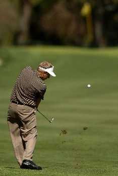 Wayne Levi hits an approach shot on the 8th green during the first round of the Champions' Tour 2005 SBC Classic at the Valencia Country Club in Valencia, California March 11, 2005.