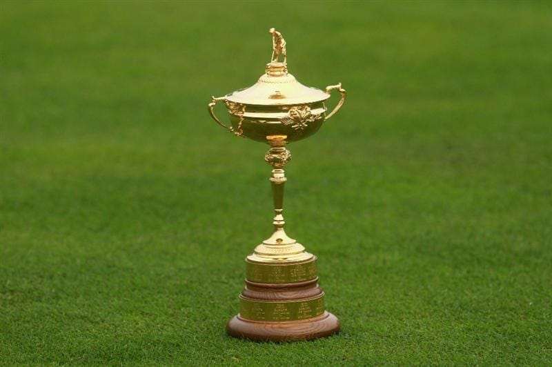NEWPORT, WALES - SEPTEMBER 28:  General detail of the Ryder Cup trophy during the USA Team Photocall prior to the 2010 Ryder Cup at the Celtic Manor Resort on September 28, 2010 in Newport, Wales. (Photo by Andrew Redington/Getty Images)