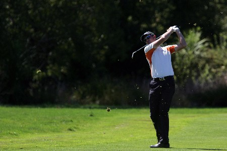 CHRISTCHURCH, NEW ZEALAND - FEBRUARY 17:  Aaron Townsend of Australia plays a shot on the 1st hole during the final day of the NZPGA Championship at Clearwater Golf Course on February 17, 2008 in Christchurch, New Zealand.  (Photo by Sandra Mu/Getty Images)