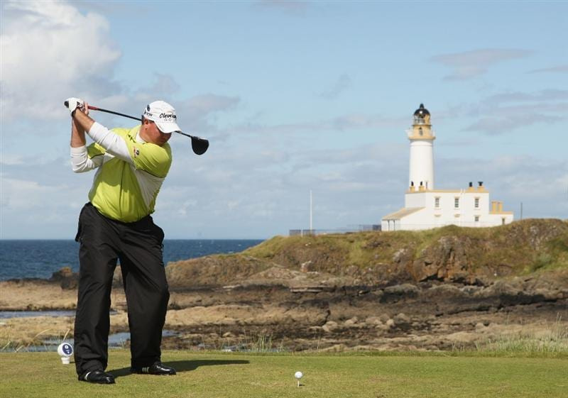 TURNBERRY, SCOTLAND - JULY 19:  Boo Weekley of USA tees off on the 9th hole during the final round of the 138th Open Championship on the Ailsa Course, Turnberry Golf Club on July 19, 2009 in Turnberry, Scotland.  (Photo by Warren Little/Getty Images)