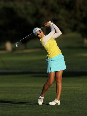 CARLSBAD, CA - MARCH 28:  Hee Kyung Seo of South Korea hits her third shot on the 18th hole during the final round of the Kia Classic Presented by J Golf at La Costa Resort and Spa on March 28, 2010 in Carlsbad, California.  (Photo by Stephen Dunn/Getty Images)