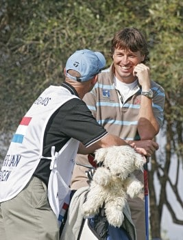 Robert-Jan Derksen of Holland and Caddie during the first round of the 2005 Algarve World Cup at the Victoria Golf Club in Vilamoura, Portugal on November 17, 2005.Photo by Phil Inglis/WireImage.com