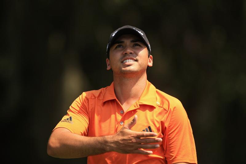 HILTON HEAD ISLAND, SC - APRIL 23:  Jason Day of Australia reacts to the wind as he walks up the fairway on the 6th hole during the third round of The Heritage at Harbour Town Golf Links on April 23, 2011 in Hilton Head Island, South Carolina.  (Photo by Streeter Lecka/Getty Images)