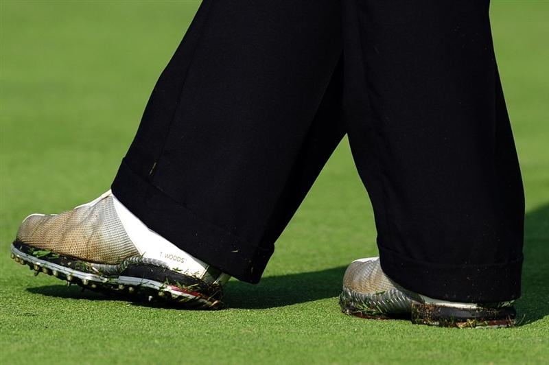 CHASKA, MN - AUGUST 11:  Tiger Wood's shoes read 'T. Woods' as seen during the second preview day of the 91st PGA Championship at Hazeltine National Golf Club on August 11, 2009 in Chaska, Minnesota.  (Photo by Stuart Franklin/Getty Images)