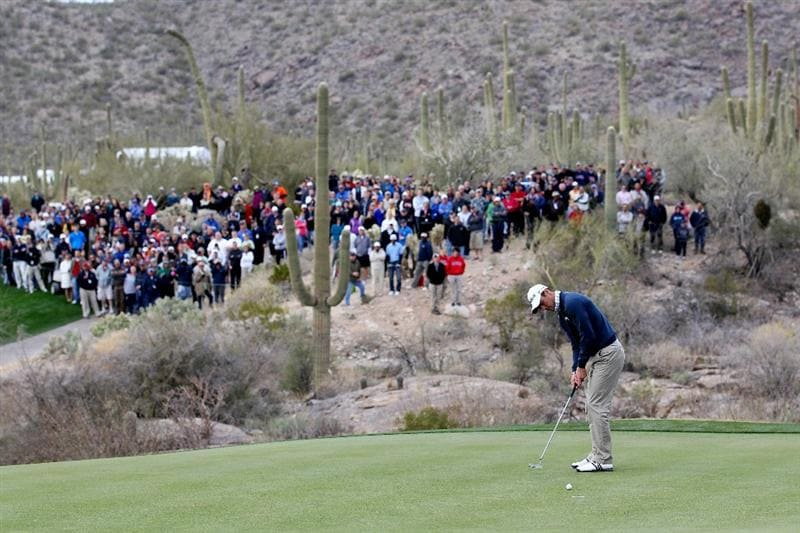 MARANA, AZ - FEBRUARY 26:  Martin Kaymer of Germany putts on the 18th hole to win his match against Bubba Watson (not pictured) during the semifinal round of the Accenture Match Play Championship at the Ritz-Carlton Golf Club on February 26, 2011 in Marana, Arizona.  (Photo by Sam Greenwood/Getty Images)