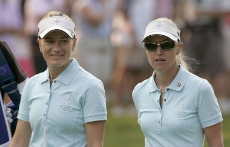 Catriona Matthew (L) and Carin Koch during the Friday morning foursome matches at the Solheim Cup at Crooked Stick Golf Club in Carmel, Indiana on September 9,2005.Photo by Michael Cohen/WireImage.com