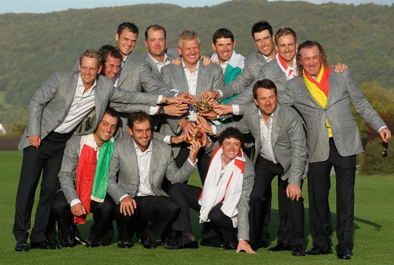 NEWPORT, WALES - OCTOBER 04:  European Team Captain Colin Montgomerie poses with the Ryder Cup and his team following Europe's 14.5 to 13.5 victory over the USA at the 2010 Ryder Cup at the Celtic Manor Resort on October 4, 2010 in Newport, Wales.  (Photo by Jamie Squire/Getty Images)