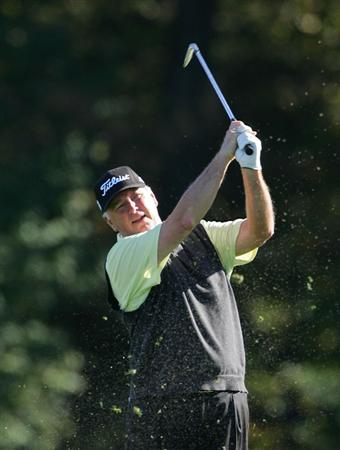 TIMONIUM, MD - OCTOBER 10:  Tom Jenkins plays a shot from the fairway during the second round of the Constellation Energy Senior Players Championship at Baltimore Country Club East Course held on October 10, 2008 in Timonium, Maryland  (Photo by Michael Cohen/Getty Images)