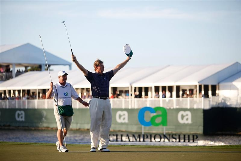 DORAL, FL - MARCH 14:  Ernie Els of South Africa celebrates after winning the final round of the 2010 WGC-CA Championship at the TPC Blue Monster at Doral on March 14, 2010 in Doral, Florida.  (Photo by Marc Serota/Getty Images)