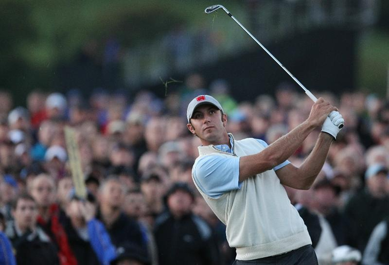 NEWPORT, WALES - OCTOBER 01:  Dustin Johnson of the USA hits an approach shot on the 12th hole during the Morning Fourball Matches during the 2010 Ryder Cup at the Celtic Manor Resort on October 1, 2010 in Newport, Wales.  (Photo by Ross Kinnaird/Getty Images)