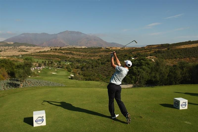 CASARES, SPAIN - OCTOBER 29:  Oliver Wilson of England tees off on the 10th hole during Day One of the Group Stage of the Volvo World Match Play Championship at Finca Cortesin on October 29, 2009 in Casares, Spain.  (Photo by Richard Heathcote/Getty Images)