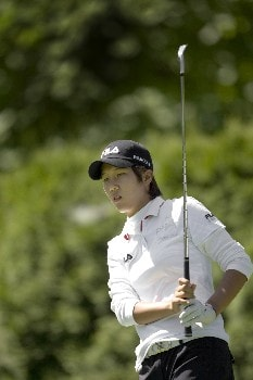 PORTLAND, OR - AUGUST 22: Song-Hee Kim of South Korea tees off on the par-3 eighth hole, during the first round of LPGA Safeway Classic at the Columbia Edgewater Country Club on August 22, 2008 in Portland, Oregon. (Photo by Steven Gibbons/Getty Images)