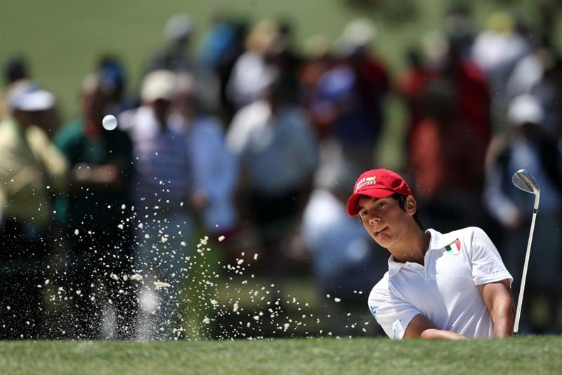 AUGUSTA, GA - APRIL 09:  Amateur Matteo Manassero of Italy plays a bunker shot on the seventh hole during the second round of the 2010 Masters Tournament at Augusta National Golf Club on April 9, 2010 in Augusta, Georgia.  (Photo by Andrew Redington/Getty Images)