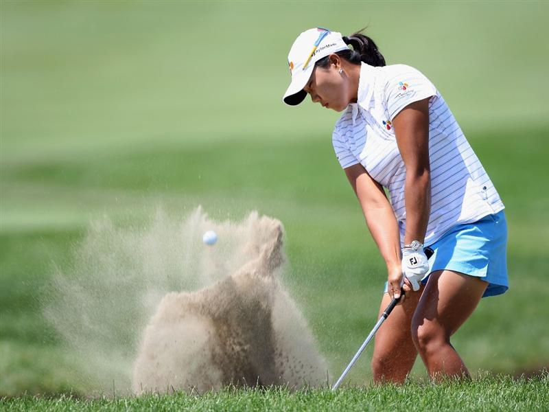 SPRINGFIELD, IL - JUNE 04:  Seon Hwa Lee of South Korea hits from the bunker onto the 16th hole green during the first round of the LPGA State Farm Classic golf tournament at Panther Creek Country Club on June 4, 2009 in Springfield, Illinois.  (Photo by Christian Petersen/Getty Images)