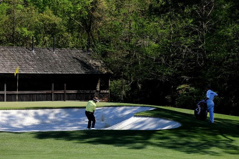 AUGUSTA, GA - APRIL 07:  Stuart Appleby of Australia plays a bunker shot on the 11th hole during the first round of the 2011 Masters Tournament at Augusta National Golf Club on April 7, 2011 in Augusta, Georgia.  (Photo by David Cannon/Getty Images)
