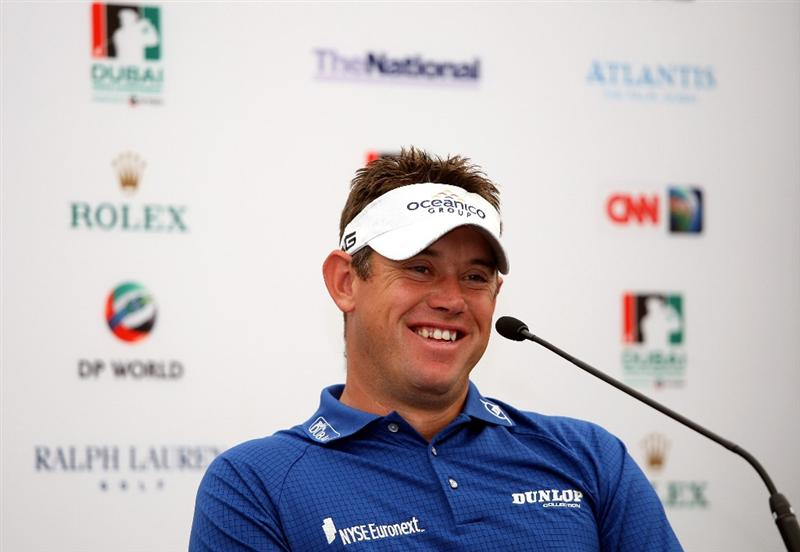 DUBAI, UNITED ARAB EMIRATES - NOVEMBER 17:  Lee Westwood of England talks to the press prior to the start of the Dubai World Championship on the Earth Course, Jumeirah Golf Estates on November 17, 2009 in Dubai, United Arab Emirates.  (Photo by Andrew Redington/Getty Images)