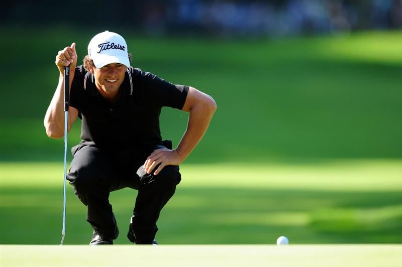 CHASKA, MN - AUGUST 14:  Adam Scott of Australia lines up a putt on the 11th green during the second round of the 91st PGA Championship at Hazeltine National Golf Club on August 14, 2009 in Chaska, Minnesota.  (Photo by Stuart Franklin/Getty Images)