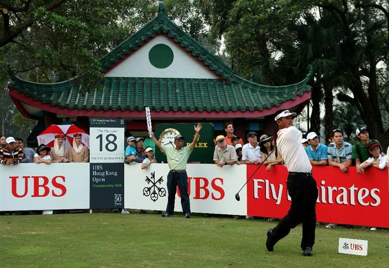 HONG KONG, CHINA - NOVEMBER 23:   Lin Wen-Tang of Chinese Taipie plays his tee shot on the 18th hole hole during the final round of the UBS Hong Kong Open at the Hong Kong Golf Club on November 23, 2008 in Fanling, Hong Kong.  (Photo by Stuart Franklin/Getty Images)