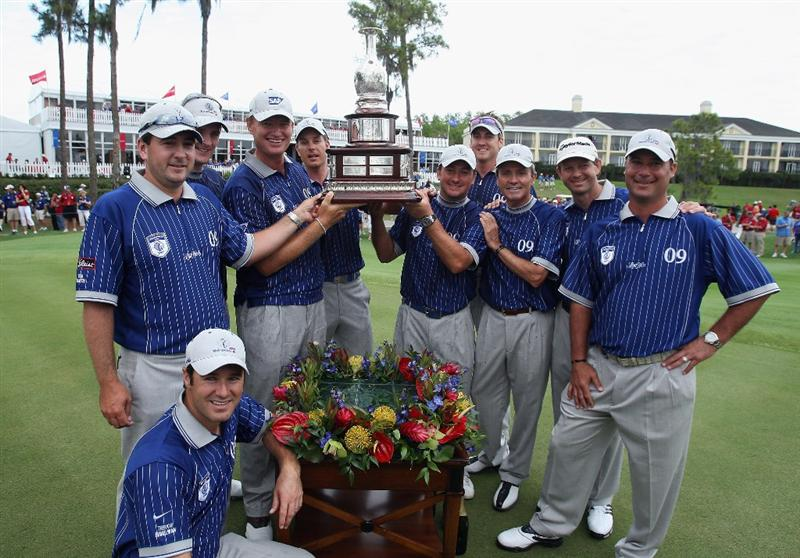 ORLANDO, FL - MARCH 17: The victorious Lake Nona Team poses after the second day of the 2009 Tavistock Cup at the Lake Nona Golf and Country Club, on March 17, 2009 in Orlando, Florida  (Photo by David Cannon/Getty Images)