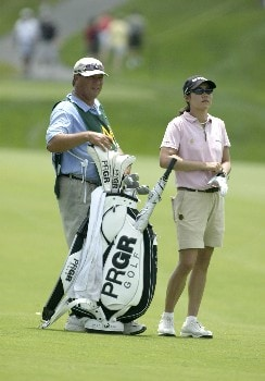 Aree Song waits by her bag during the first round of the 2005 McDonald's LPGA Championship at Bulle Rock Golf Course in  Havre de Grace, Maryland on June 9, 2005.Photo by Michael Cohen/WireImage.com