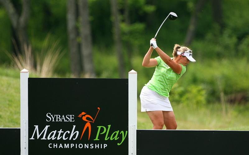 GLADSTONE, NJ - MAY 22: Angela Stanford hits her tee shot on the first hole during the third round of the Sybase Match Play Championship at Hamilton Farm Golf Club on May 22, 2010 in Gladstone, New Jersey. (Photo by Hunter Martin/Getty Images)