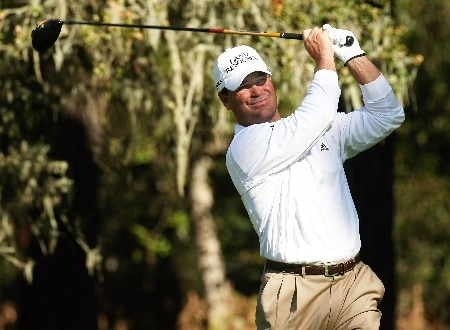 PEBBLE BEACH, CA - FEBRUARY 09:  Jay Williamson hits his tee shot on the eighth hole during the third round of the AT&T Pebble Beach National Pro-Am on February 9, 2008 at Spyglass Hill Golf Course in Pebble Beach. California.  (Photo by Stephen Dunn/Getty Images)